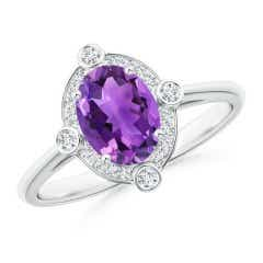 Angara Secured Claw Oval Amethyst and Diamond Halo Ring h4lyPbSLCI
