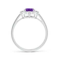 Toggle Deco Inspired Oval Amethyst and Diamond Halo Ring