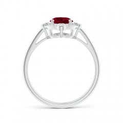 Toggle Deco Inspired Oval Garnet and Diamond Halo Ring