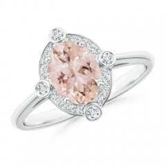 Deco Inspired Oval Morganite and Diamond Halo Ring