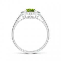 Toggle Deco Inspired Oval Peridot and Diamond Halo Ring
