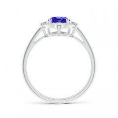 Toggle Deco Inspired Oval Tanzanite and Diamond Halo Ring