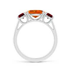 Toggle Prong-Set Oval Citrine and Garnet Three Stone Ring