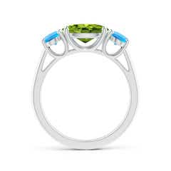 Toggle Prong-Set Oval Peridot and Swiss Blue Topaz Three Stone Ring