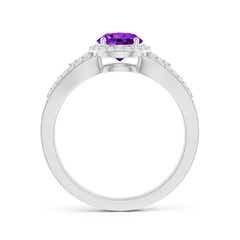 Toggle Split Shank Round Amethyst Halo Ring with Cluster Diamonds