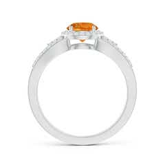 Toggle Split Shank Round Citrine Halo Ring with Cluster Diamonds