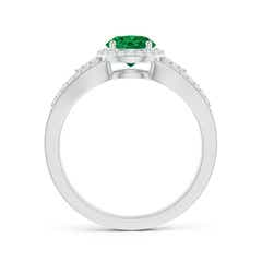 Toggle Split Shank Round Emerald Halo Ring with Cluster Diamonds