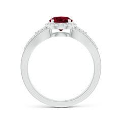 Toggle Split Shank Round Garnet Halo Ring with Cluster Diamonds