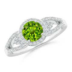 Split Shank Round Peridot Halo Ring with Cluster Diamonds