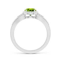 Toggle Split Shank Round Peridot Halo Ring with Cluster Diamonds