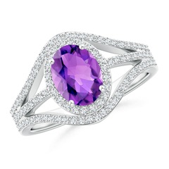 Triple Shank Oval Amethyst and Diamond Halo Ring