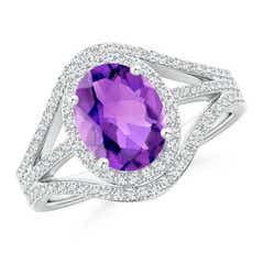 Triple Shank Oval Amethyst and Diamond Halo Ring