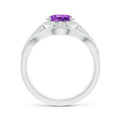 Toggle Triple Shank Oval Amethyst and Diamond Halo Ring