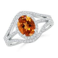 Triple Shank Oval Citrine and Diamond Halo Ring