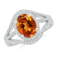 Triple Shank Oval Citrine and Diamond Halo Ring