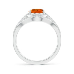 Toggle Triple Shank Oval Citrine and Diamond Halo Ring