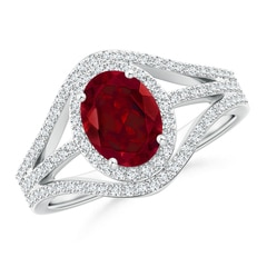 Triple Shank Oval Garnet and Diamond Halo Ring
