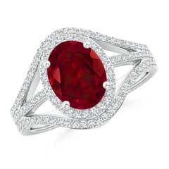 Triple Shank Oval Garnet and Diamond Halo Ring