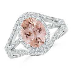 Triple Shank Oval Morganite and Diamond Halo Ring