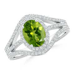 Triple Shank Oval Peridot and Diamond Halo Ring