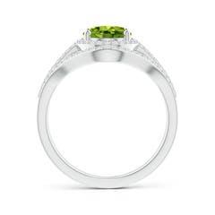 Toggle Triple Shank Oval Peridot and Diamond Halo Ring
