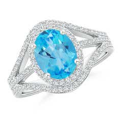 Triple Shank Oval Swiss Blue Topaz and Diamond Halo Ring