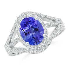 Triple Shank Oval Tanzanite and Diamond Halo Ring