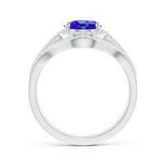 Toggle Triple Shank Oval Tanzanite and Diamond Halo Ring