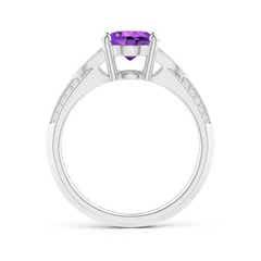 Toggle Knife-Edged Oval Amethyst Solitaire Ring with Pave Diamonds