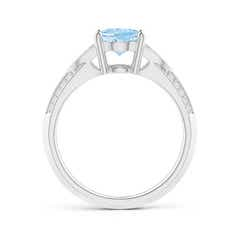 Toggle Knife-Edged Oval Aquamarine Solitaire Ring with Pave Diamonds