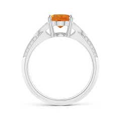 Toggle Knife-Edged Oval Citrine Solitaire Ring with Pave Diamonds