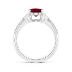 Toggle Knife-Edged Oval Garnet Solitaire Ring with Pave Diamonds