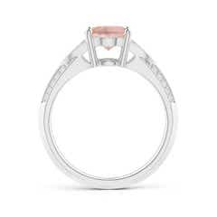 Toggle Knife-Edged Oval Morganite Solitaire Ring with Pave Diamonds