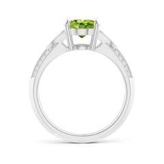Toggle Knife-Edged Oval Peridot Solitaire Ring with Pave Diamonds