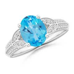 Knife-Edged Oval Swiss Blue Topaz Solitaire Ring with Diamonds