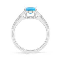 Toggle Knife-Edged Oval Swiss Blue Topaz Solitaire Ring with Diamonds