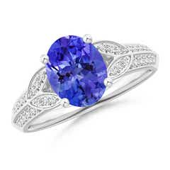 Knife-Edged Oval Tanzanite Solitaire Ring with Pave Diamonds