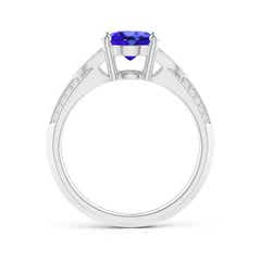 Toggle Knife-Edged Oval Tanzanite Solitaire Ring with Pave Diamonds