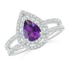 Split Shank Pear Amethyst and Diamond Double Halo Ring