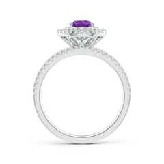 Toggle Split Shank Pear Amethyst and Diamond Double Halo Ring