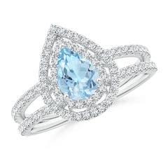 Split Shank Pear Aquamarine and Diamond Double Halo Ring