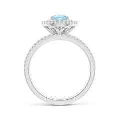 Toggle Split Shank Pear Aquamarine and Diamond Double Halo Ring