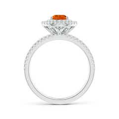 Toggle Split Shank Pear Citrine and Diamond Double Halo Ring