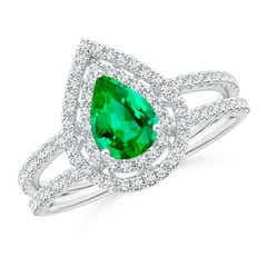 Split Shank Pear Emerald and Diamond Double Halo Ring