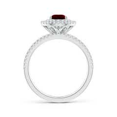 Toggle Split Shank Pear Garnet and Diamond Double Halo Ring