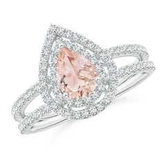 Split Shank Pear Morganite and Diamond Double Halo Ring