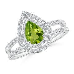 Split Shank Pear Peridot and Diamond Double Halo Ring