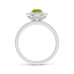 Toggle Split Shank Pear Peridot and Diamond Double Halo Ring