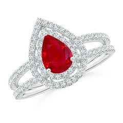 Split Shank Pear Ruby and Diamond Double Halo Ring