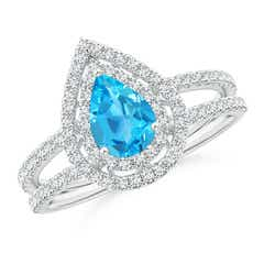Split Shank Pear Swiss Blue Topaz and Diamond Double Halo Ring